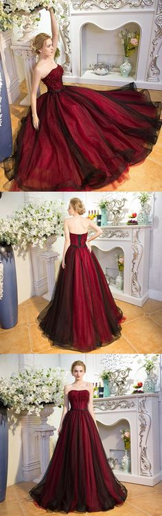 2018 new fashions Unique burgundy tulle long prom dress, burgundy evening dress M1378#prom #promdress #promdresses #longpromdress #promgowns #promgown #2018style #newfashion #newstyles #2018newprom #eveninggown #burgundytullepromdress #eveningdress