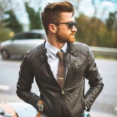 21 Fab Leather Jacket Outfits On The Street 2016 Style Hipster, Hipster Man, Mode Man, Leather Jacket Outfits, Leather Jackets, Biker Leather, Brown Leather, Mens Fashion Blog, Male Fashion