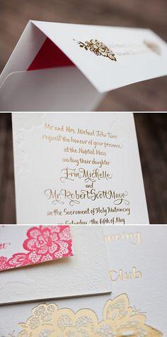 #gold #foilstamp #wedding #invitation #floral #foilshimmer #design #stationery #details