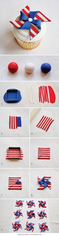 For Memorial Day and July Patriotic Pinwheel Cupcakes. 4th Of July Cake, 4th Of July Party, Fourth Of July, July 4th Appetizers, Patriotic Party, Patriotic Crafts, July Crafts, Patriotic Cupcakes, Birthday Desserts