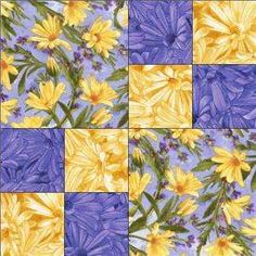 Debbie Beaves Blue Yellow Daisy Simple Pleasures Floral Quilt Kit. not crazy about the fabric pattern but the design would be interesting