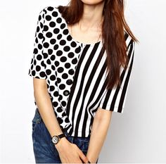 Women Short Sleeve Polka Dot Print Striped Chiffon Shirt Blouse Size S M L Polka Dot T Shirts, Blouses For Women, T Shirts For Women, T Shirt Time, Short Shirts, Shirt Refashion, Chiffon Shirt, Mode Style, Skirt Outfits