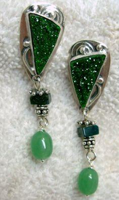Chelle' Rawlsky uvarovite garnet drusy, jade sterling silver post earrings $164 #ChelleRawlsky