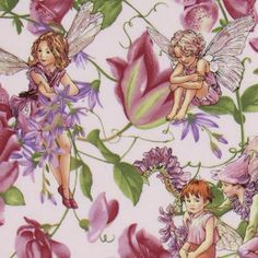Michael Miller fabric Magical Garden Fairies lilac  cute lilac fabric with flower fairies and purple flowers from the USA