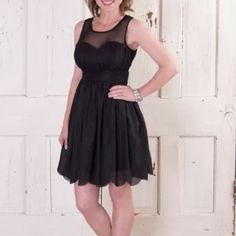 Black boutique dress This black dress with sheer top, cinched waist, and scalloped bottom is from Glamour Farms. It's brand new with tags and has never been worn :) it is a little too small for me in the chest so I'm willing to give it a new home. Great for any wedding, formal, nye, or special occasion! **model picture is from glamour farms website Glamour Farms Dresses