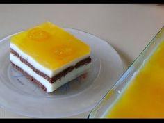 Γλυκό ψυγείου με κρέμα, μπισκότα και ζελέ πορτοκάλι! Jelly slice with biscuits and orange! - YouTube Dessert Recipes, Desserts, Pudding, Fruit, Cooking, Breakfast, Cake, Sweet, Biscuits