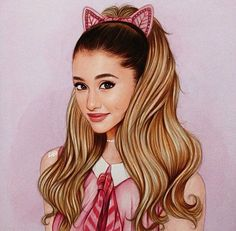 Ariana grande drawing. This drawing is so pretty and cute, I love it!!