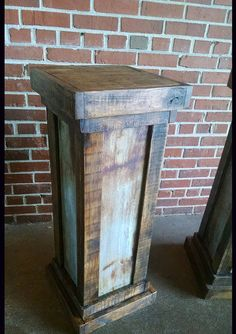 This listing is for 1 reclaimed wood and rusted tin column. This would be great to use as wedding decor, a plant stand, hostess podium, etc. We can also make it with the back open with shelves.   This is made to order. Please allow 4-6 weeks for delivery.  Dimensions 42t x 15 inch squared.