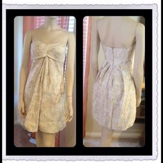 """Stunning Cache with gold paint tube dress Very Beautiful Beige/Gold Cache Tube Dress, in excellent condition, pit to pit is 14"""", length is 29"""".... CACHE Dresses"""