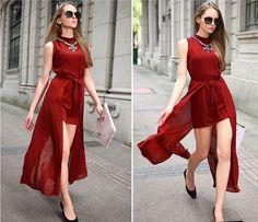 2014 New elegant sexy chiffon red long dress