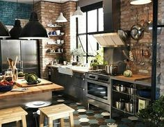 Amazing Industrial Kitchen for Your Home. There are some materials that are often used in the interior design of industrial kitchen, such as, concrete steel pallets, stainless steel plate, ste. Ikea Kitchen, Kitchen Dining, Kitchen Decor, Kitchen Ideas, Rustic Kitchen, Kitchen Inspiration, Eclectic Kitchen, Kitchen Pictures, Kitchen Modern