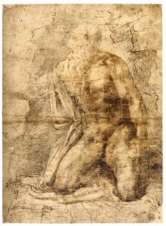 MICHELANGELO Buonarroti St Jerome 1493-97 Pen and gray-brown and brown ink, 285 x 209 mm Musée du Louvre, Paris