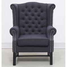 TOV Furniture Fairfield Grey Linen Club Chair TOV-63102-GREY