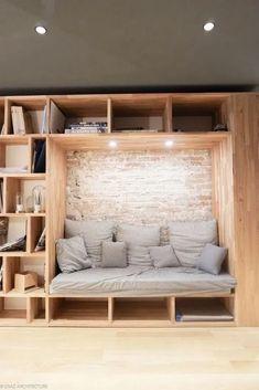 sofa-alcove-library-agentur-caaz-architektur-grenoble-wood-architect-design/ - The world's most private search engine Home Room Design, Interior Design Living Room, Modern House Design, Flat Design, Urban Design, New Room, House Rooms, Diy Home Decor, Furniture Design
