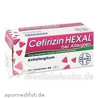 #CETIRIZIN HEXAL Filmtabl. b. Allergien, 100 ST, HEXAL AG