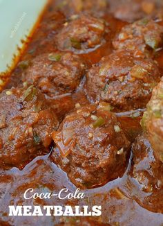 Coke Cola Meatballs - Comforting, rich, tangy and saucy Coca-Cola Meatballs - my family's favorite dinner choice ! Serve over pasta, rice or mashed potatoes Meatball Recipes, Meat Recipes, Appetizer Recipes, Dinner Recipes, Cooking Recipes, Appetizers, Freezer Recipes, Delicious Recipes, Potluck Recipes