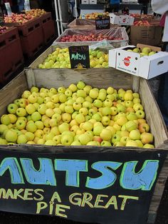 apples on display at the Olympia Farmers Market. I bought some Mutsu and some Braeburns     Visit our website http://theapppalace.co.nz