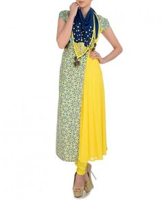 Lime Yellow Suit with Mosaic Prints