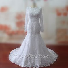 Real Samples Mermaid Wedding Dresses Lace Wedding Gowns Long Sleeves Bridal Gowns Plus Size Bridal Dress by IVIDRESS on Etsy