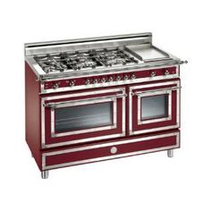 "Check out the Bertazzoni HER486GGASVI Heritage 48"" Gas Range in Matte Vino with 6 Brass Burners and Griddle"