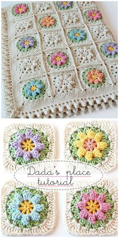 This Primavera Crochet Square Pattern is perfect for all your favourite projects. It will make gorgeous blankets, cushions and more. Crochet Flower Tutorial, Crochet Flower Patterns, Crochet Blanket Patterns, Crochet Stitches, Knitting Patterns, Granny Square Crochet Pattern, Crochet Squares, Crochet Quilt, Free Crochet