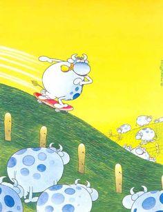 Cartoon & Caricature Information Center Cartoon Cow, Cute Cartoon, Illustrations, Illustration Art, Chris Riddell, Puzzle Art, Learn Art, Quentin Blake, Humor Grafico