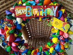 Birthday wreath, personalized with scrapbooking words and cards.