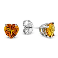 14k White Gold Heart Shape Citrine Stud Earrings from Borsheims - A girl who receives these for her birthday is one lucky girl indeed!