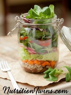 Superfood Mason Jar Salad with Lemon Vinaigrette   Easy, Perfect Lunch   Great to Bring on the Go   Tasty, Satisfying, Healthy   30 Grams Protein to Keep you Satiated for Hours   For MORE RECIPES, fitness & nutrition tips please SIGN UP for our FREE NEWSLETTER www.NutritionTwins.com
