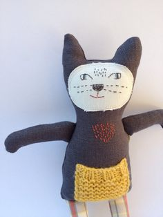 Cat Stuffed Toy Animal Softie Charcoal Grey Linen by MeandTex