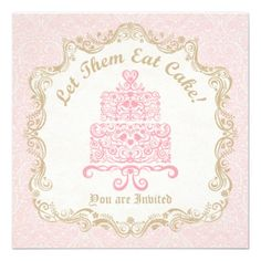 Let Them Eat Cake Invitation in Pink & Gold  Marie Antoinette Inspired Party Invitation. Love birds, hearts, flowers, and vines decorate this cake. Ornate french style frame with a pretty distressed damask wallpaper pattern complete this pretty card. Great for Birthday's, Bridal Shower's, or any Girly Celebration. Original Illustration by pj_design / jammydesign.