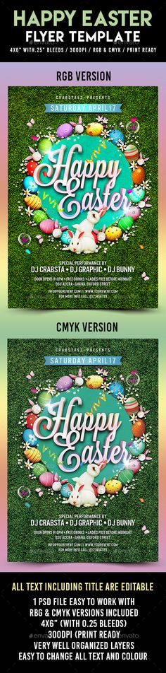 Easter Party Flyer Template Fonts-logos-icons Pinterest Best
