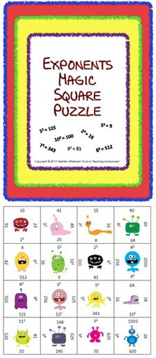 Exponents Magic Square Puzzle - just $1 - keep students engaged in a fun activity while practicing necessary math skills!
