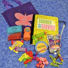 Summer of Service kits: journal to record daily good deeds, fun stuff to inspire