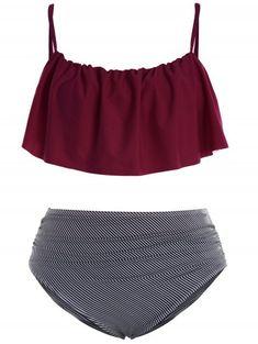 7349ad79b9 Plus Size Padded Stripe Flounce Bikini Bathing Suit - RED WINE 2XL Plus  Size Bikini