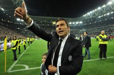Juventus head coach Antonio Conte celebrates after beating Atalanta BC 1-0 to win the Serie A Championships at the end of the Serie A match ...