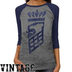 adidas Old Dominion Monarchs Ladies Supersize Fan Raglan Tri-Blend T-Shirt - Ash/Navy Blue