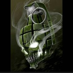 A sick grenade skull. Digital art. #skull #grenade #tattoo #skulltattoos…