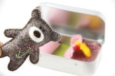 wee TEDDY DOLL in TIN house, Doll Tin, Felt Teddy Bear, Pocket Toy, Travel Toy…