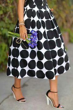 Polka dots + midi length = love.