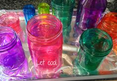 How to color mason jars (or any glass container) with Modge Podge.