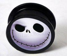 Nightmare Before Christmas Black acrylic saddle plug ear expander flesh tunnel with Fairy ear ...
