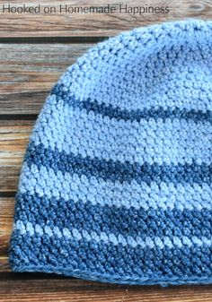 For the Faded Beanie Crochet Pattern I used one of my favorite acrylic yarns, Lion Brand Jean's yarn. It is so, so soft and is perfect for hats. Crochet Baby Hats Free Pattern, Crochet Cap, Free Crochet, Crochet Basics, Crochet For Beginners, Crochet Stitches Patterns, Lion Brand, Learn To Crochet, Knitted Hats