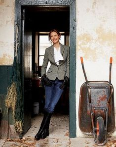 "Classic English casual look. I wear variations of this in the Winter. A ""classic with a twist"" jacket with skinny jeans in knee length flat or low to medium heel.  R McN"