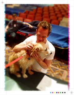 Neil Patrick Harris has a moment with Sunny at a Tony Rehearsal. Photo by Bill Berloni