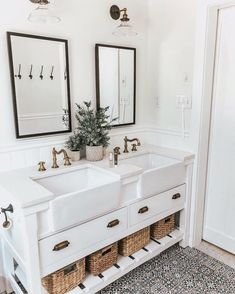 farmhouse sink in bathroom vanity, modern farmhouse bathroom, patterned tile, st. farmhouse sink i Ideas Baños, Decor Ideas, Decorating Ideas, Decorating Websites, Bathroom Inspiration, Bathroom Ideas, Bathroom Remodeling, Couples Bathroom, Bathroom Goals