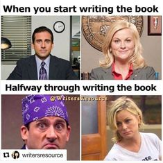 I don't know if this is a reference to the writers or the characters or both but yep Writing Problems - In The Middle - Writers Write Writing Images, Writing Words, Writing Quotes, Work Quotes, Writing A Book, Writing Tips, Writing Software, Writing Prompts, Writer Memes