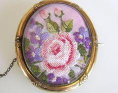 15% OFF SALE! Elegant Victorian Antique Large Pinchbeck Brooch Petit Point Roses & Violets under Bevelled Glass Gift Box Included