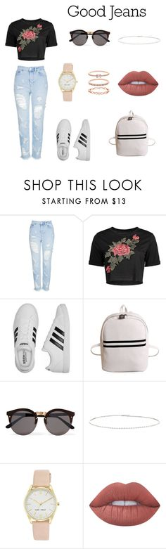 """""""Mom Jeans."""" by olympia-valance ❤ liked on Polyvore featuring Topshop, adidas, Illesteva, Suzanne Kalan, Nine West, Lime Crime and Accessorize"""