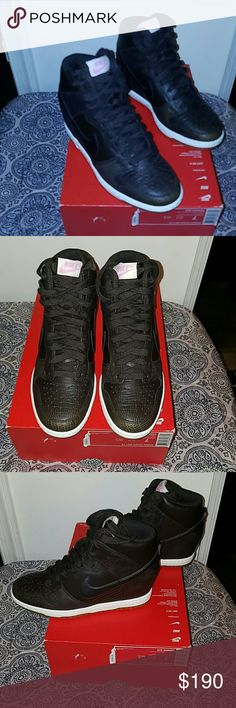 NIKE DUNK SKY HI SZ 7 VELVET BROWN NWT HARD TO FIND AND GORGEOUS COLOR. NEVER WORN. THEY WEDGE IS SEXY ABS ADD THAT FLAVA  TO YOUR CASUAL OUTFIT.   LOVE THESE BUT THERE NOT MY SIZE.  WHO EVER IS THE LUCKY BUYER, YOU'LL BE IN LOVE ?????????????????? Nike Shoes Sneakers